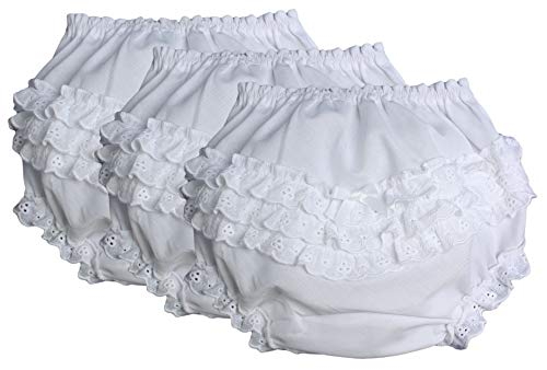 Little Things Mean A Lot Baby Girls White Elastic Bloomer Diaper Cover with Embroidered Eyelet Edging XL 3 Pack