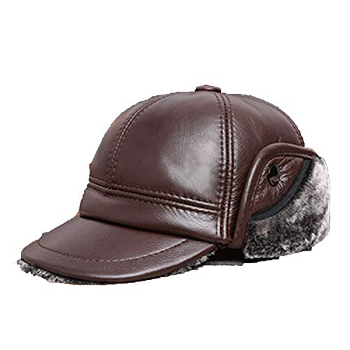 - CoolBao Winter Men's Warm Plus Velvet Thick Bomber Hats Cowhide Earmuffs Caps Brown