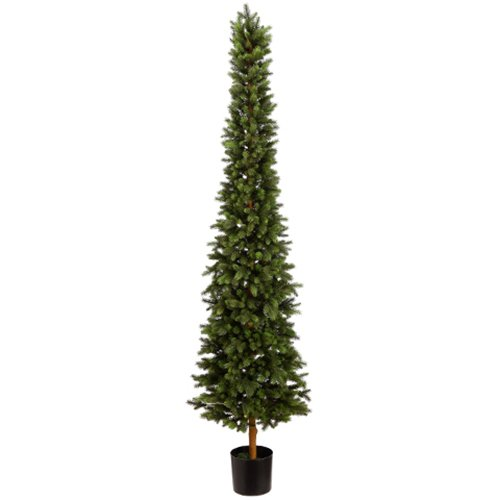 7' Slim Norway Pine Artificial Tree w/Pot -Green by SilksAreForever