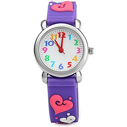 ELEOPTION Waterproof 3D Cute Cartoon Digital Silicone Wristwatches Time Teacher Gift for Little Girls Boy Kids Children (LOVE- Purple)