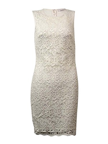 Lace Cream Calvin Stretch Floral Sheath Klein Dress Sleeveless Women's 8wqTqWIR4a