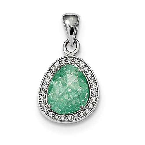 925 Sterling Silver Green Ice Cubic Zirconia Cz Dangle Pendant Charm Necklace Fancy Fine Jewelry Gifts For Women For Her for $<!--$44.95-->