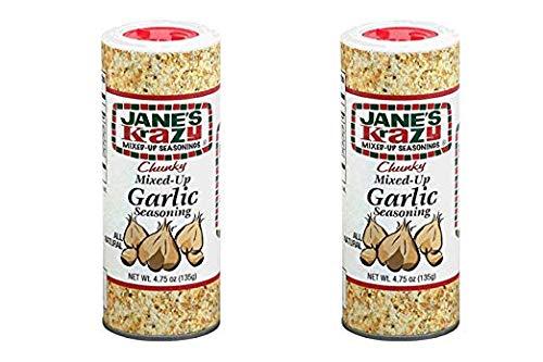 Jane's Krazy Chunky Mixed-Up Garlic Seasoning, 135 grams, (2 Pack)