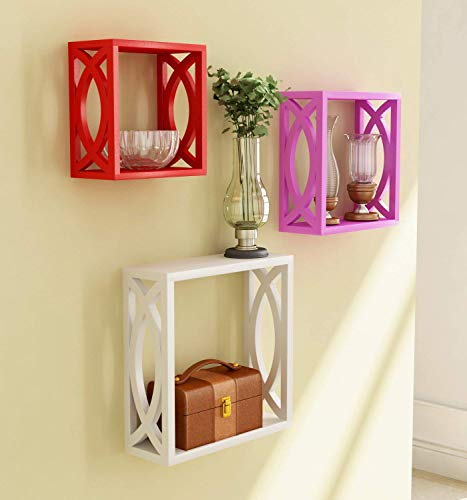 Creative Craft Wooden Square Floating Cube Wall Shelf Storage Wall Shelves Book Shelf  Multi Colour