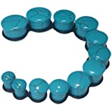 """PAIR 6g-5/8"""" Blue Turquoise Stone Single Flare Plugs Tunnels Gauges (0g (8mm))"""