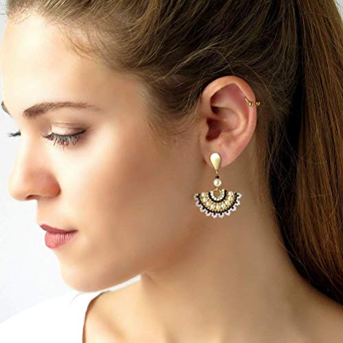 Designer Black and white Fan 14K Gold-filled Dangle Stud Earrings