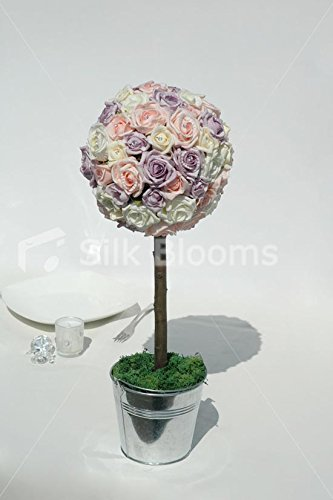 and Lilac Rose Tree Table Top Arrangement (Ivory Rose Topiary)