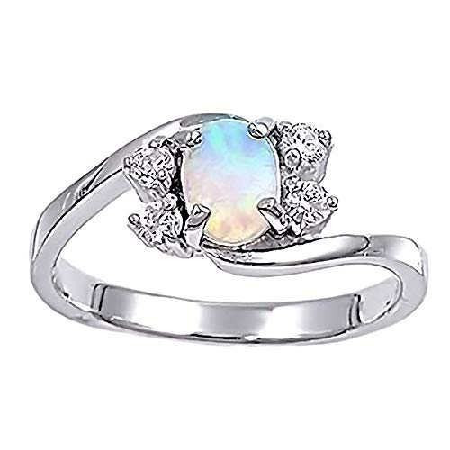 (1000 Jewels Jamaica: 1.12ct Synthetic White Opal and Ice on Fire CZ Cocktail Promise Ring Silver, 5014 sz 8.0)