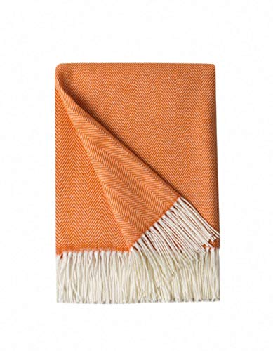 "Bourina Decorative Herringbone Faux Cashmere Fringe Throw Blanket Lightweight Soft Cozy for Bed or Sofa Farmhouse Outdoor Throw Blankets, 50"" x 60"", Orange"