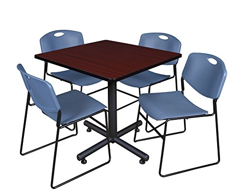 Regency Kobe 42-Inch Square Breakroom Table, Mahogany, and 4 Zeng Stack Chairs, Blue