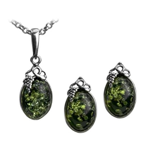 Gopher Jewelry Pendant (Green Amber Sterling Silver Classic Small Grape Leaves Stud Earrings Pendant Necklace Set Chain 18
