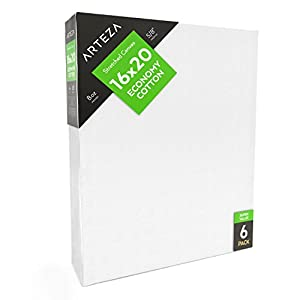 "Arteza Blank Pre Stretched Canvas for Painting, 16x20"", Pack of 6, Primed, 100% Cotton, For Acrylic Paint, Oil Paint, Other Wet or Dry Art Media, For the Professional Artist, Hobby Painters, Kids"