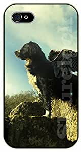 iPhone 5C Dog over rocks wth angel wings - black plastic case / dog, animals, dogs