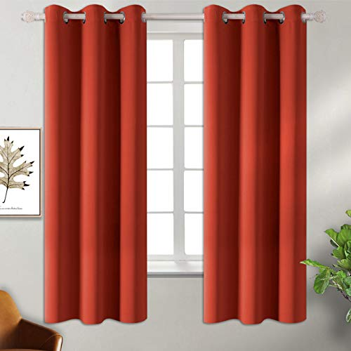 BGment Blackout Curtains - Grommet Thermal Insulated Room Darkening Bedroom and Living Room Curtain, Set of 2 Panels (42 x 63 Inch, Orange Red) (Living Orange Room And Navy)