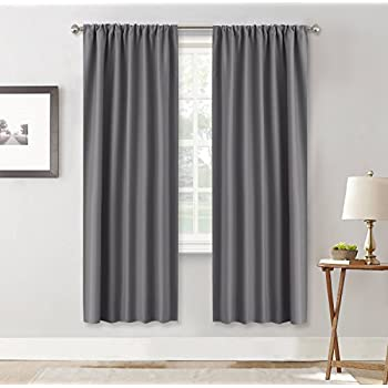 Amazon Com Ryb Home Living Room Blackout Curtains Gray