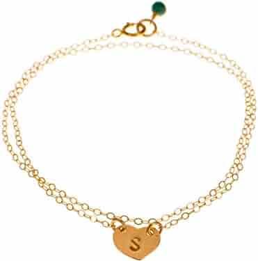 61128b65075c93 EFYTAL Initial Bracelet - Custom Gold Filled Dainty Heart, Small Monogram  Delicate Simple Bracelet