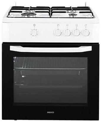 Beko CSG 62000 DWL - Cocina (Gas natural, Convencional, Parrilla, Gas, Giratorio, Frente, 600 mm) Color blanco