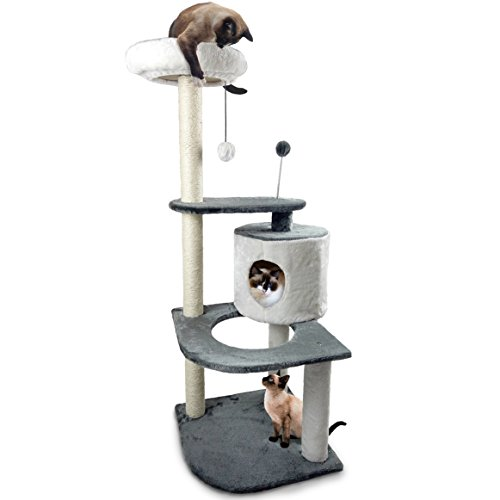 FurHaven Pet Cat Tree | Tiger Tough Cat Tree House Furniture for Cats & Kittens, Round House Corner Playground, Gray & White