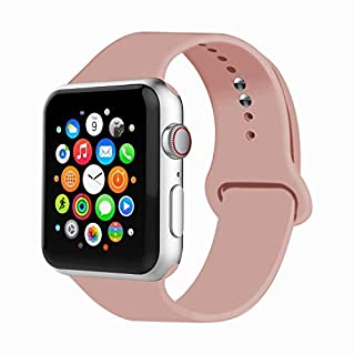 IYOU Sport Band Compatible with Watch Band 38MM 42MM 40MM 44MM, Soft Silicone Replacement Sport Strap Compatible with 2018 Watch Series 5/4/3/2/1(Vintage Rose,38MM, S/M)