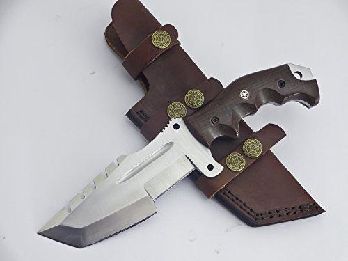 TR-1214 CUSTOM HANDMADE J2 TRACKER KNIFE- BROWN MICARTA HANDLE