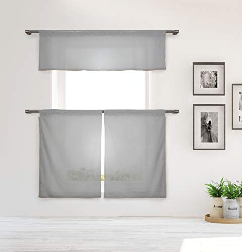 Home Maison Desideria Kitchen Curtains, Grey - Maison Grey Rug