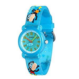 Wolfteeth Little Boys Analog Wrist Watch Water Resistant School Day Christmmas Gift Sport Watch Unique TransparencyWatchband Blue Monkey 308403