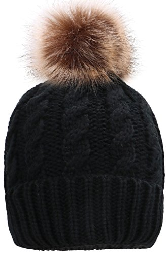 Simplicity Men / Women's Winter Hand Knit Faux Fur Pompoms Beanie Hat Black