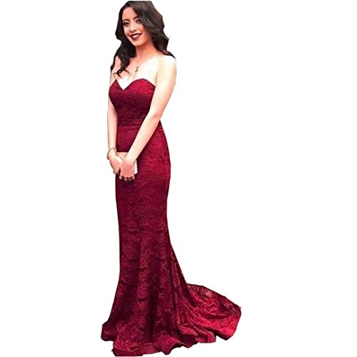 DingdingMail Burgundy Lace Bridesmaid Dresses 2017 Plus Size Sexy Backless Long Mermaid Wedding Guest Dress Cheap Party Gown