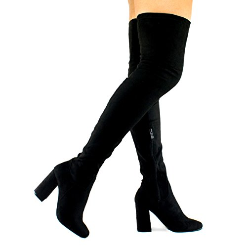 [Premier Standard - Women Fashion Comfy Vegan Suede Block Heel Slip On Thigh High Over the Knee Boots, TPS Elantra-01 Black Size 11] (Black Thigh High Boots)