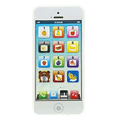 YOYOSTORE Phone Toy Play Mobile Cell Phone Music Learning for Child Toddle Baby Kid (White): Toys & Games