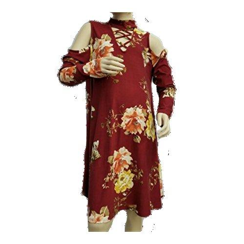 Pomelo Tween Girl's Floral Print Cold Shoulder Dress (Multiple Colors) (Medium, Burgundy)