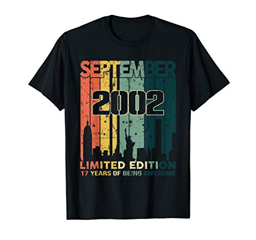 Vintage 17 Years Old Gift Awesome Since September 2002 Shirt T-Shirt