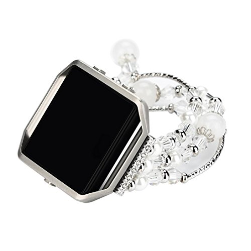 Pearl Sports Wrist Watch - SUKEQ For Fitbit Blaze Metal Bracelet for Women, Jewelry Faux Pearl Replacement Wristband Watch Band Strap Accessories With Metal Frame (Silver)
