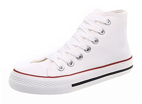 Trendy High-end Canvas Sneakers Van Popuuswomens White2