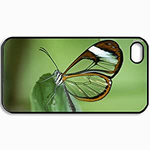 Customized Cellphone Case Back Cover For iPhone 4 4S, Protective Hardshell Case Personalized Clear Winged Butterfly 4837 Black