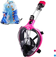 HELLOYEE Foldable Snorkel Mask Full Face Snorkeling Mask for Adults and Kids 180° Panoramic View Breathe Free