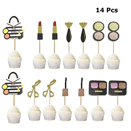 JANOU 14 Pcs Make Up Cupcake Toppers Glitter Cosmetics Spa Cake Toppers Cake Picks Desserts Decor for Happy Birthday Wedding Hen Party Favors]()