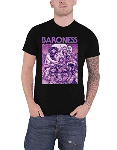 Baroness T Shirt Purple Album Cover Band Logo Official Mens Black Size XXL