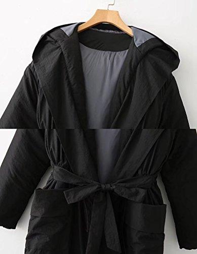 Cinturón de Abrigo Color Chaqueta Caliente Largo con Chaqueta Abrigo Negro Desgastar Mujeres de Parka con Sólido Capucha Invierno YAANCUN 7xTYY