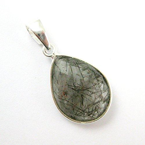 Pendant Sterling Faceted Silver (Bezel Gem Pendant with Bail - Black Rutilated Quartz -Sterling Silver Teardrop Faceted Gemstone Pendant-29mm)