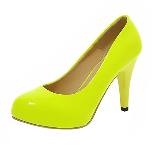 YE Damen Plateau Lack Pumps Stiletto Geschlossene High Heels mit 9cm Absatz Elegant Kleid/Büroschuhe Gelb