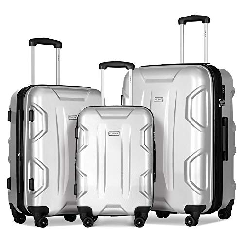 Fochier Luggage Sets with Spinner Wheels 3 piece Hardshell Expandable Suitcase with TSA Lock Silver