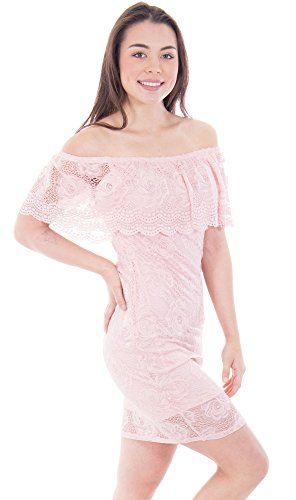 Mesmer Rose Lace Off-Shoulder Bodycon Minidress