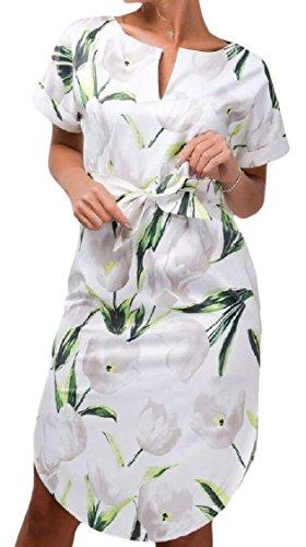 Coolred-femmes Découpées Vogue Taille Sexy Floral Tunique Mince Haut Robe 2