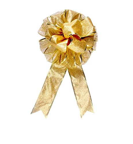 (EBTOYS Christmas Tree Bow Topper Gift Bow Tree Topper Bow Indoor Outdoor Handmade Decoration for Wreaths Tree Toppers - (Gold))