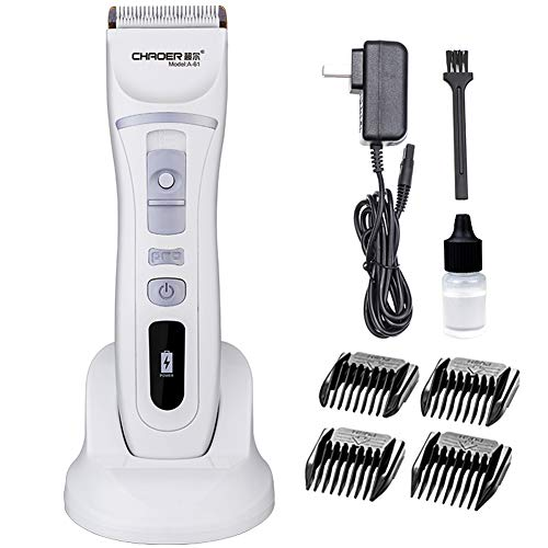 (Hair Clipper, Titanium Ceramic Safety Cutter Head Low Noise, With 4 Gear Limit Comb, Adult Children Universal 110-240v (White))