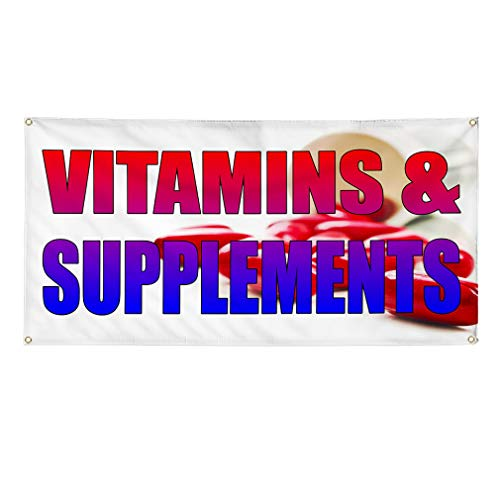 Vinyl Banner Sign Vitamins and Supplements White Yellow Marketing Advertising White - 48inx120in (Multiple Sizes Available), 10 Grommets, One Banner