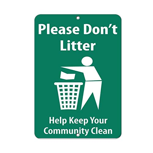(BIN SHANG Metal Aluminum Sign Please Don't Litter Help Keep Your Community Clean Plaque for Yard Garage Driveway House)