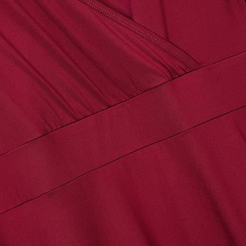 Amz Plus La Taille De Plus De Femmes À Manches 3/4 Épaule Froid Flowy Bordeaux Robe Maxi Casual
