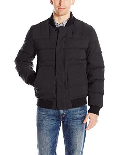 (Bass GH Men's Quilted Microtwill Flight Bomber Jacket, Black L)